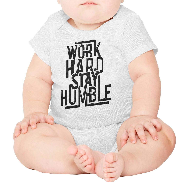 Godfer Arabe.Unisex White Short Sleeve Work Hard Stay Humble Baby Onesies Bodysuit Jumpsuit