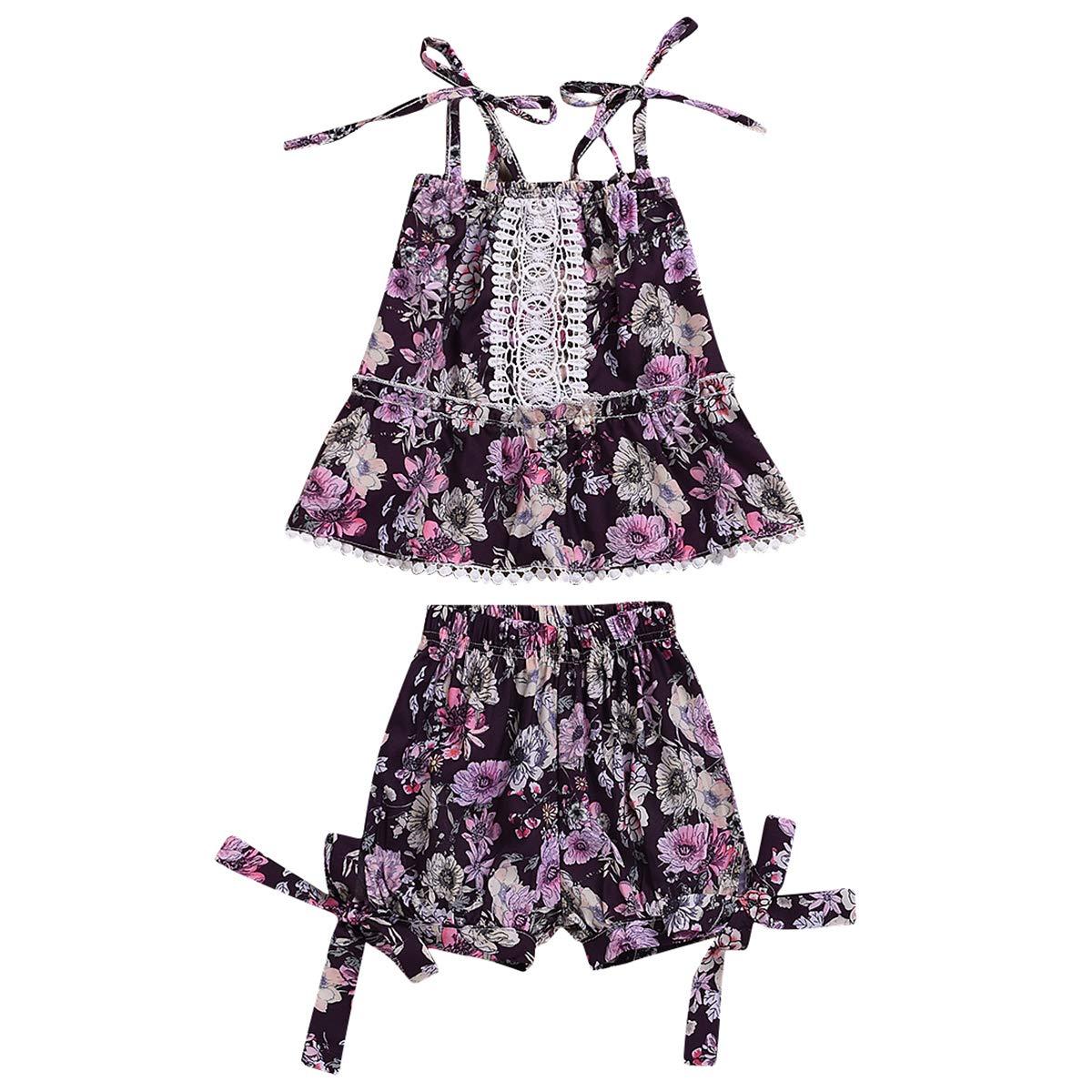 Tianhaik Baby Girls All Floral Print Spaghetti Strap Tank Top+Bowknot Cotton Shorts Babysuit