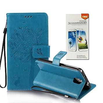OuDu Funda Samsung Galaxy Note 3 Carcasa de Billetera Funda PU Cuero para Samsung Galaxy Note 3 Carcasa Suave Protectora - Azul (Regalo:1 Protector de ...