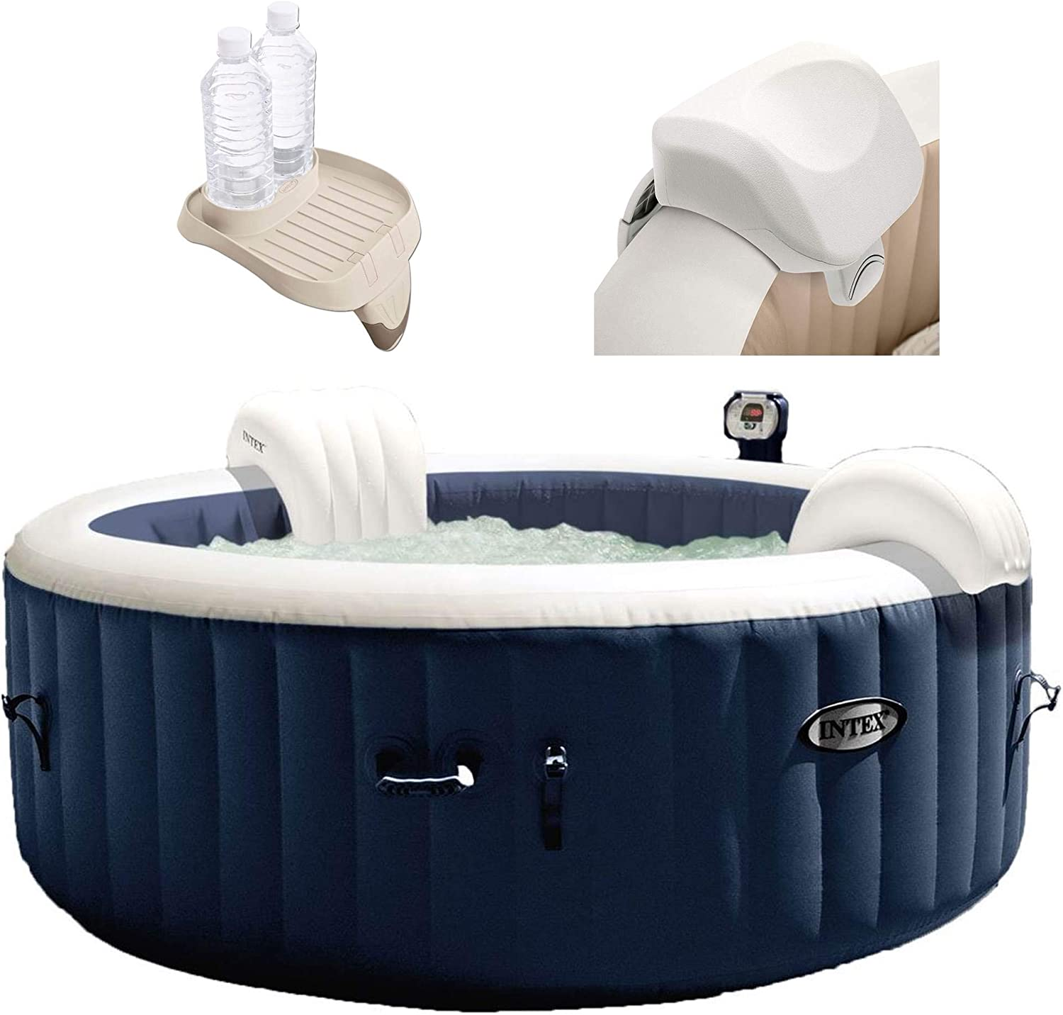 Intex 28405E PureSpa 4 Person Home Outdoor Inflatable Portable Heated Round Hot Tub Spa 58-inch x 28-inch with 120 Bubble Jets, Soft-Foam Headrest, and Drink Cup Holder Tray, Blue