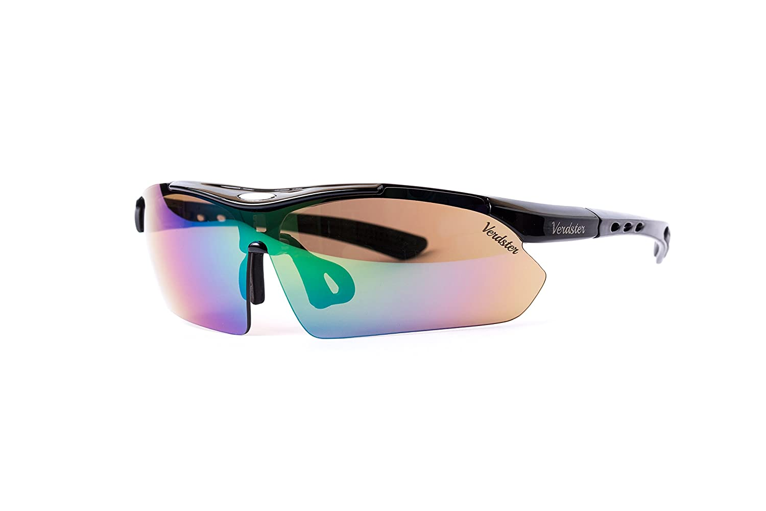 ad5b7bc64d4 Amazon.com  Verdster TourDePro Polarized Cycling Sport Sunglasses For Men  and Women 5 Lenses
