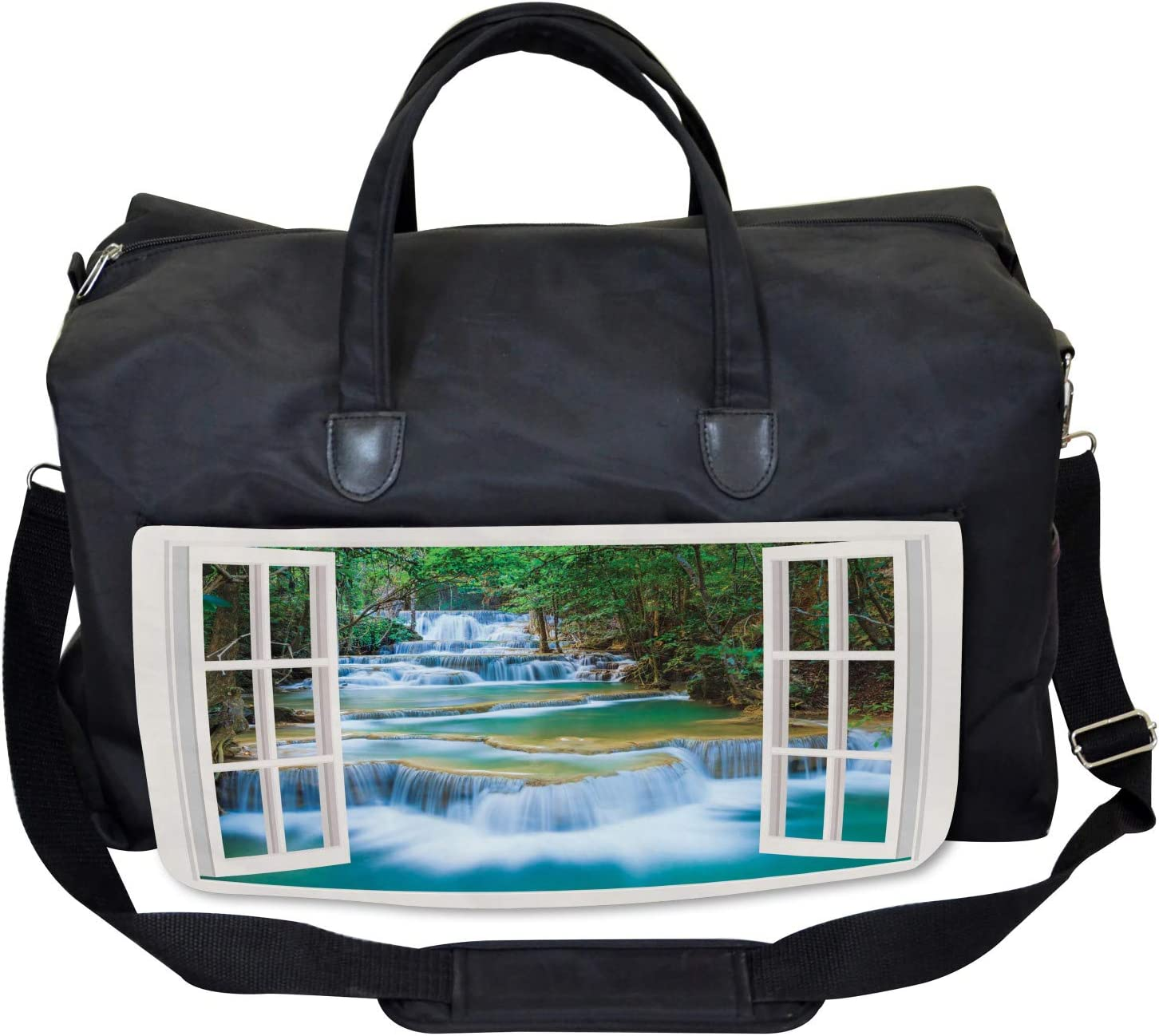 Ambesonne Landscape Gym Bag Large Weekender Carry-on Open Window to River