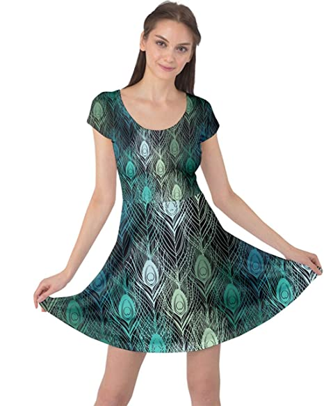 bc02c23d9de CowCow Green Pattern Peacock Feathers Cap Sleeve Dress at Amazon Women s Clothing  store