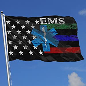 EROOU8W EMS Star of Life EMT Paramedic Medic Holiday Home House Garden Courtyard Lawn Patio Outdoor Decoration Small National Flag 3x5 Ft
