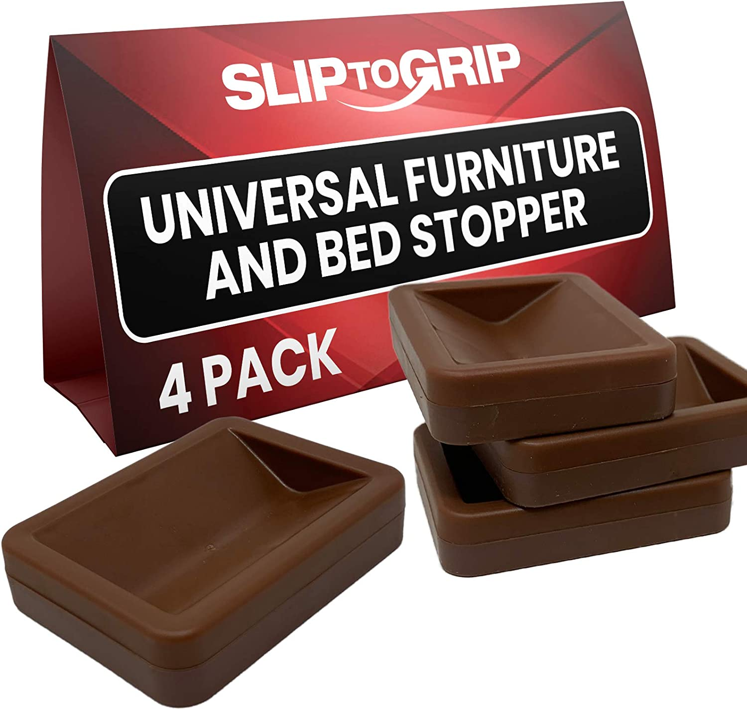 SlipToGrip Bed and Furniture Stopper (4, Brown)