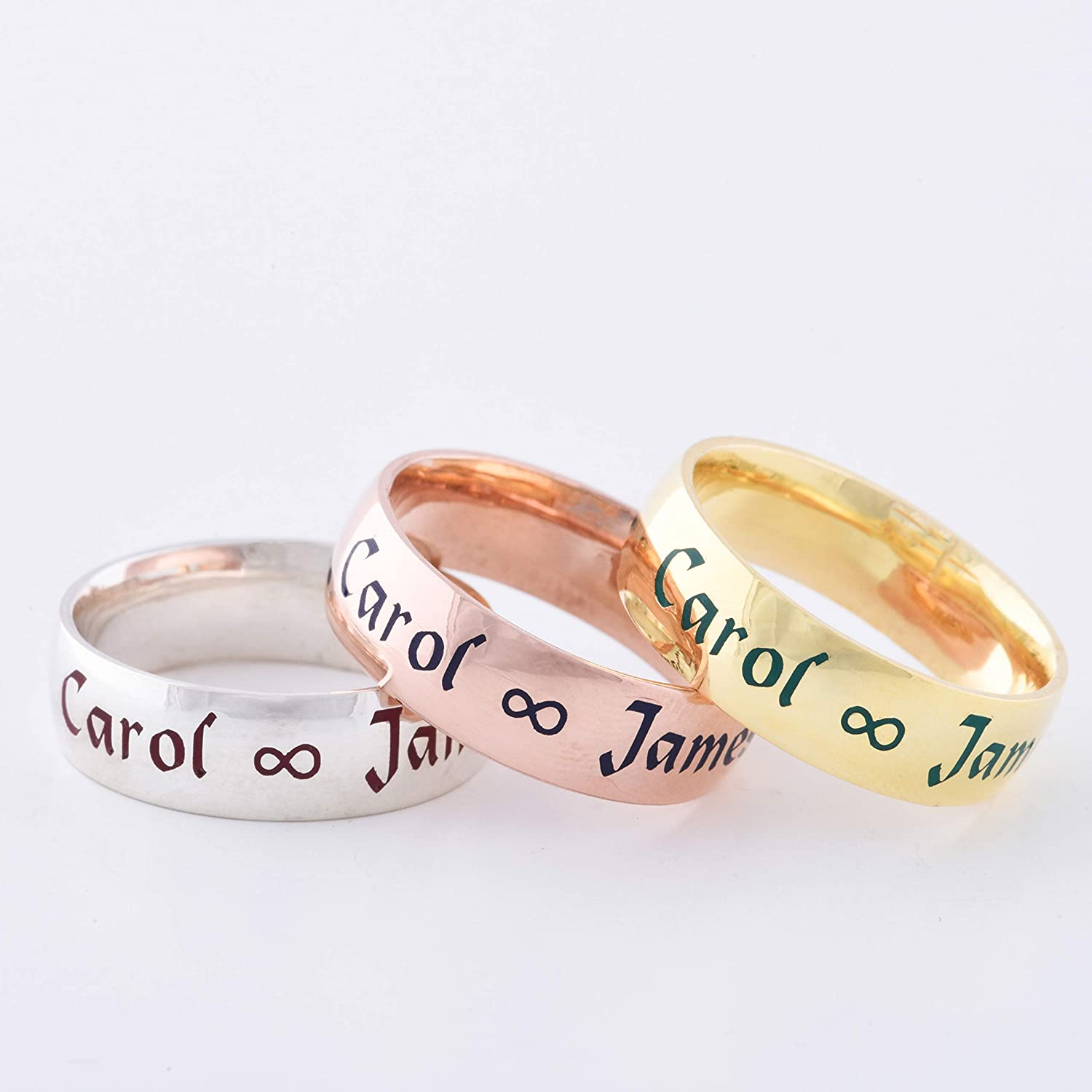 Amazon Com 14k Solid Gold Personalized Wedding Ring Promise Gold Ring Gold Stacking Band Gold Simple Band Gold Wedding Band For Couple Gold Band Handmade