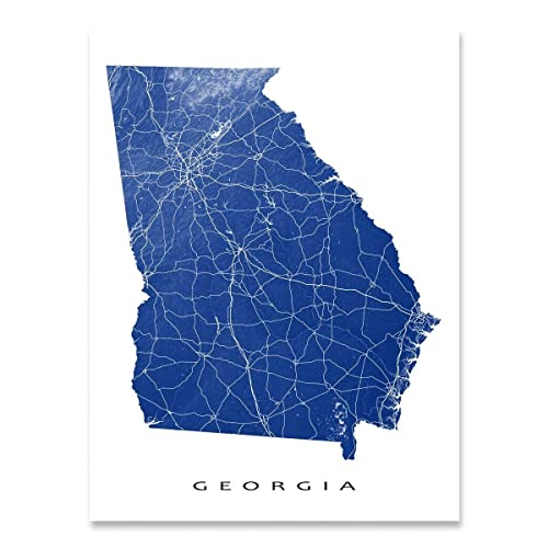 Amazon Com Georgia Map Print Ga State Art Usa Atlanta Handmade