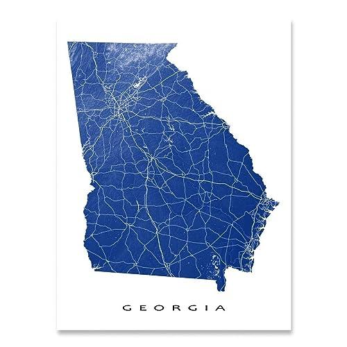 Amazon.com: Georgia Map Print, GA State Art, USA, Atlanta: Handmade