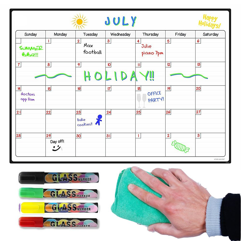 Toboo - Magnetic Dry Erase Calendar Board For Fridge, Large Reusable Monthly Refrigerator Chalkboard with 4 Colored Markers and 1 Cloth, Planner Whiteboard Agenda Memo for Home, Grocery, Dorm Room