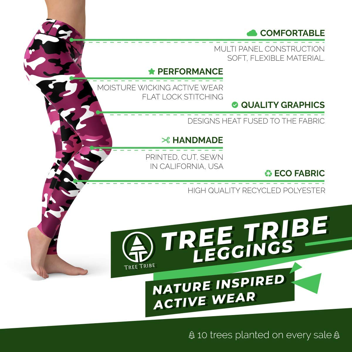 00896639f8967 Amazon.com : Tree Tribe Pink Camo Leggings - Natural or High Waist - Comfortable  Active Wear : Sports & Outdoors