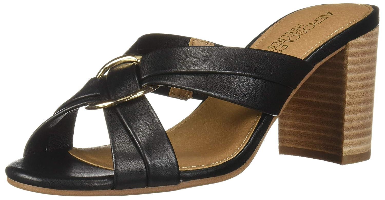 Black Leather Aerosoles Womens Highwater Heeled Sandal