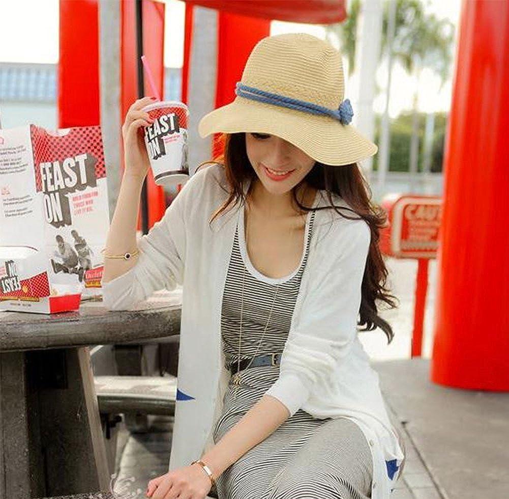 Leisial Verano Sombrero de Paja con Arco Sombrero de Playa de Sol Plegable Sombrero de Ala Ancha para Mujer,Rosa