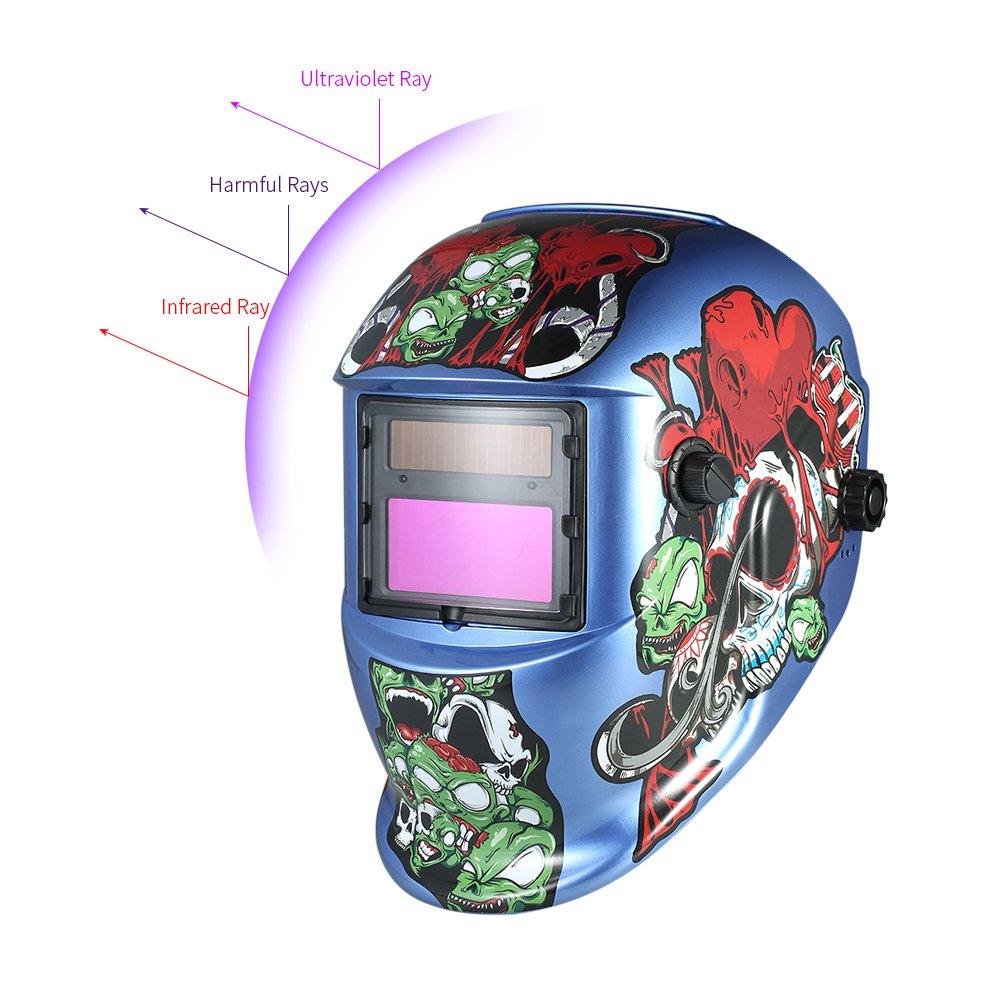 Walmeck Industrial Welding Helmet Solar Power Auto Darkening Welding Helmet TIG MIG Cartoon Zombie Design by Walmeck (Image #8)