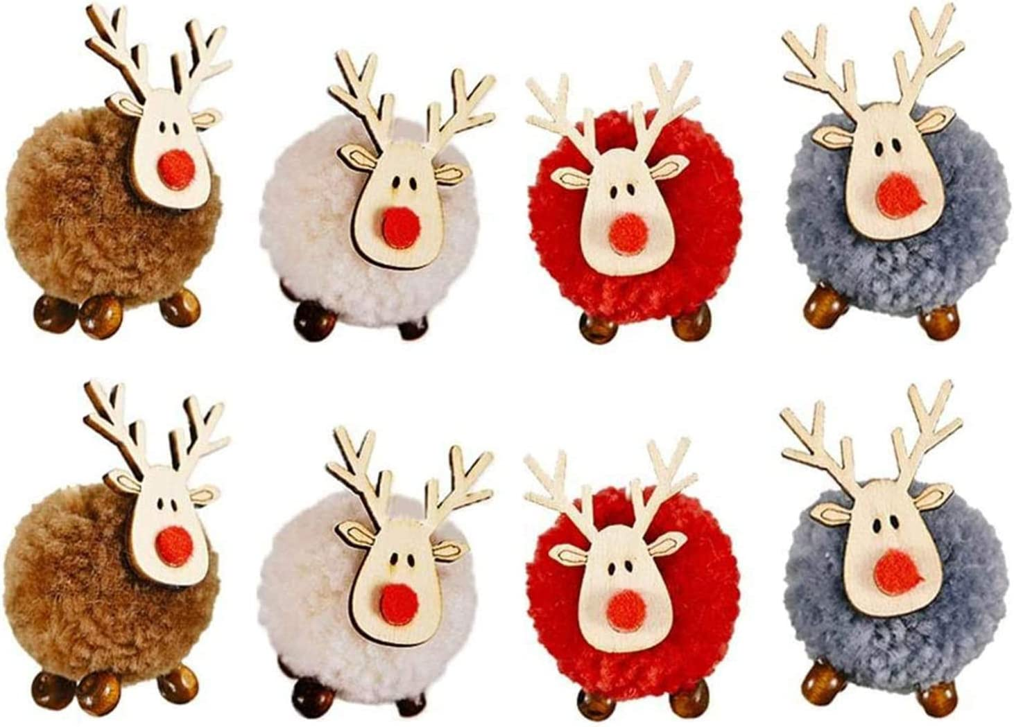 Christmas Ornaments Set, Christmas Tree Decorations, 8 Pcs Christmas Cute Wool Felt Wooden Elk Antler Pendants, Lovely Deer Craft Ornament for Xmas Tree Decor, Merry Christmas Home Decor