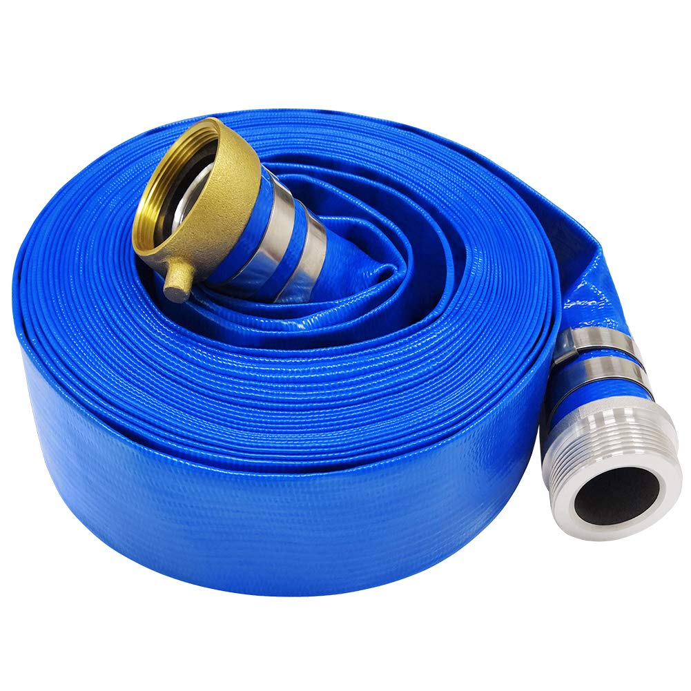 3'' x 50' Blue PVC Backwash Hose for Swimming Pools, Heavy Duty Discharge Hose Reinforced Pool Drain Hose with Aluminum Pin Lug Fittings by Hosetool