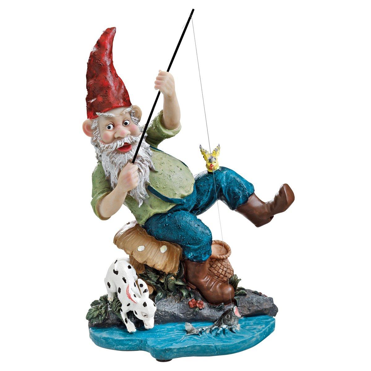 Garden Gnome Statue - Gone Fishing Garden Gnome - Outdoor Garden Gnomes - Funny Lawn Gnome Statues
