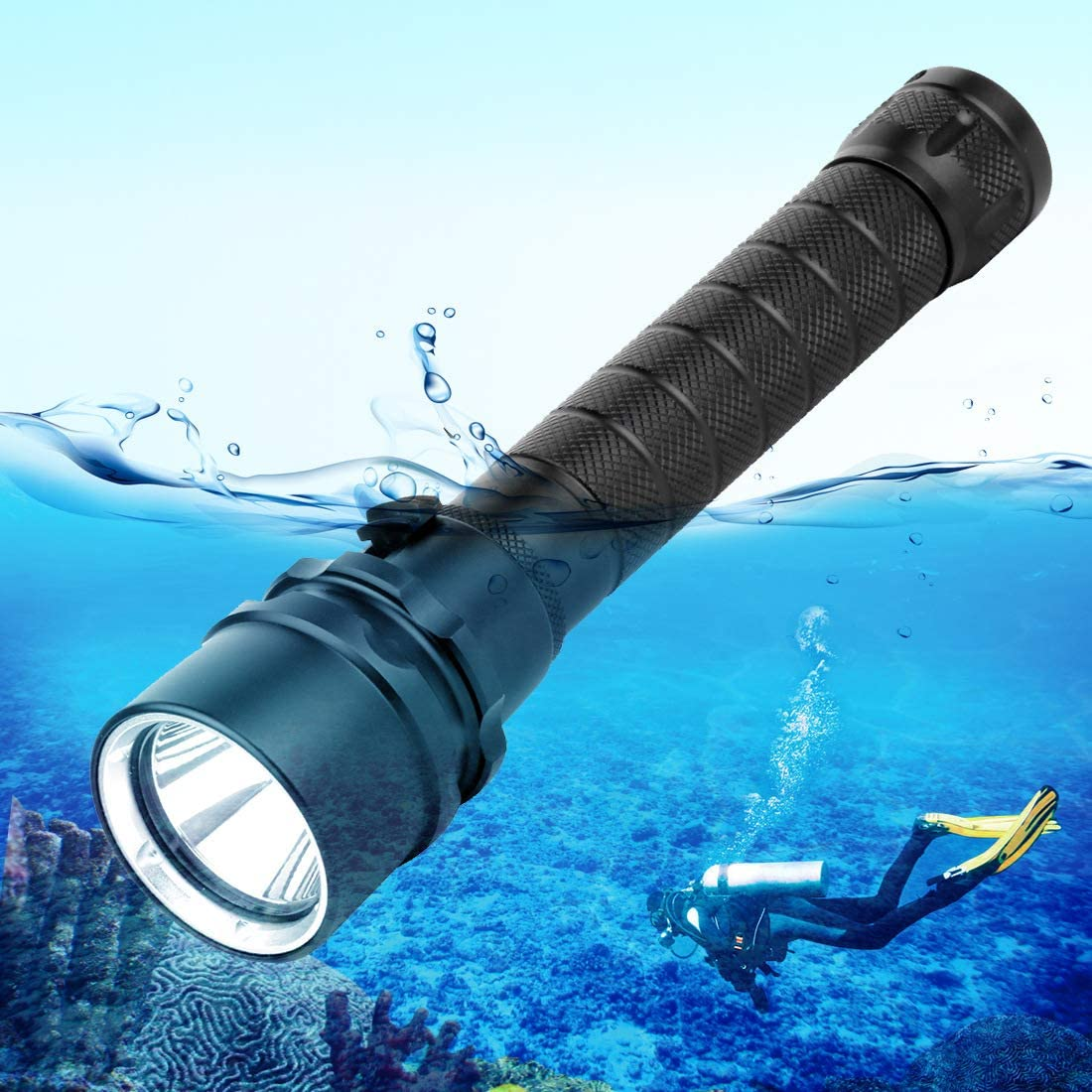 Haofy Diving Flashlight Dive Torch 5000 Lumen IP68 Waterproof Underwater Lights 80M Scuba Diving Flashlight with 3 Lighting Modes Submarine Lights