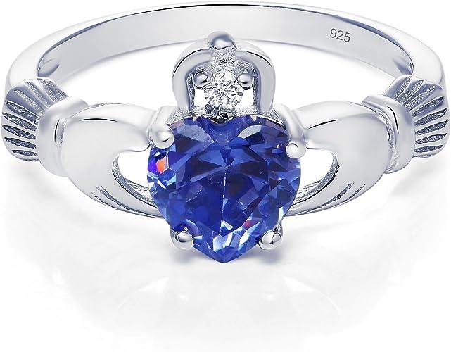 BIG SIZES 9,10 BLUE TANZANITE HEART RING Beveled CZ Stone .925 STERLING SILVER
