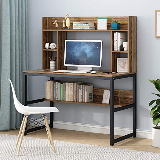 DAITU 47-inch Computer Desk, Simple Computer Desk Desktop Home Desk with Bookshelf Desk Combination Simple Modern Bedroom Student Writing Desk Brown