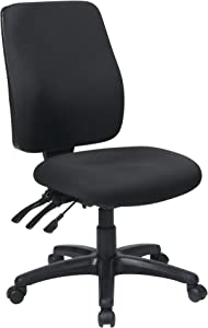 Office Star High Back Dual Function Ergonomic Chair with Ratchet Back Height Adjustment without Arms, Black