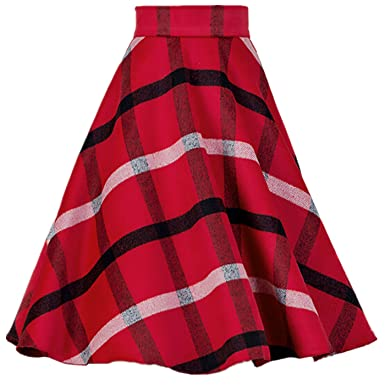 40aecd11dd YSJERA Women's Wool Midi Skirt A-Line Pleated Vintage Plaid Winter Swing  Skirts (6