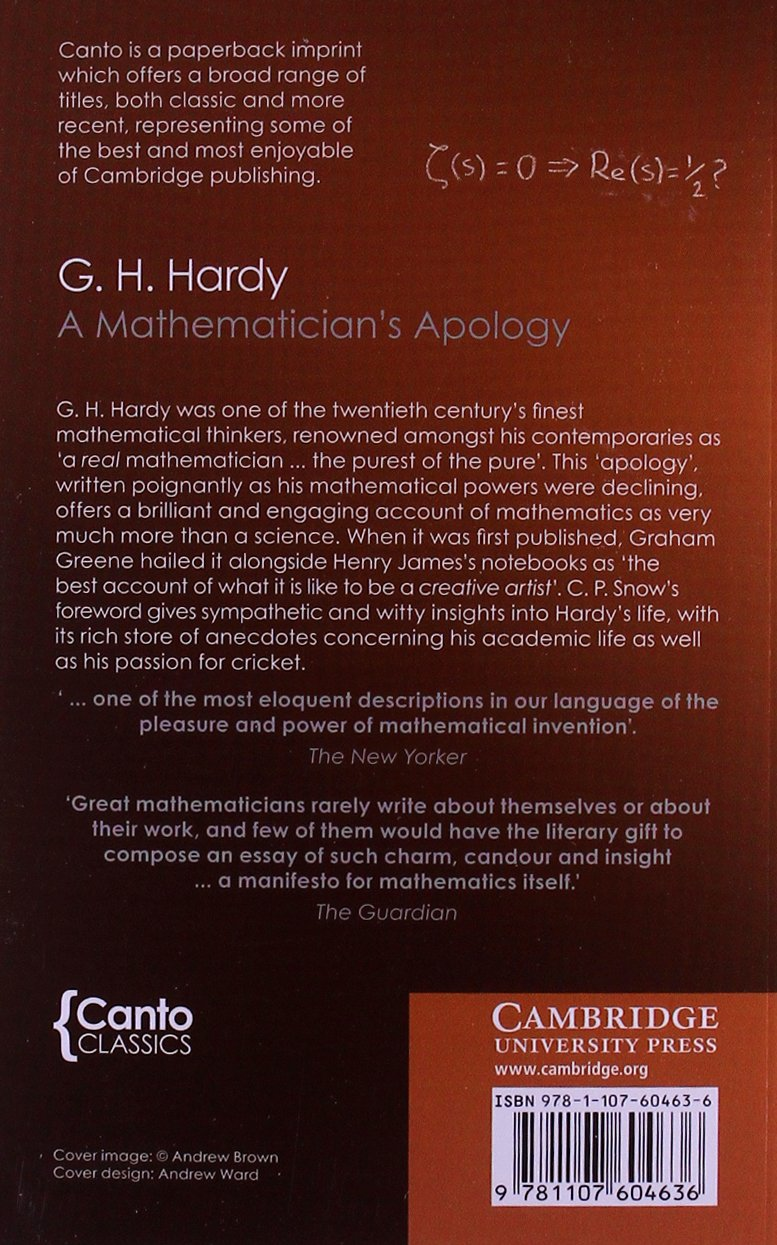 a mathematician s apology canto classics co uk g h a mathematician s apology canto classics co uk g h hardy 9781107604636 books
