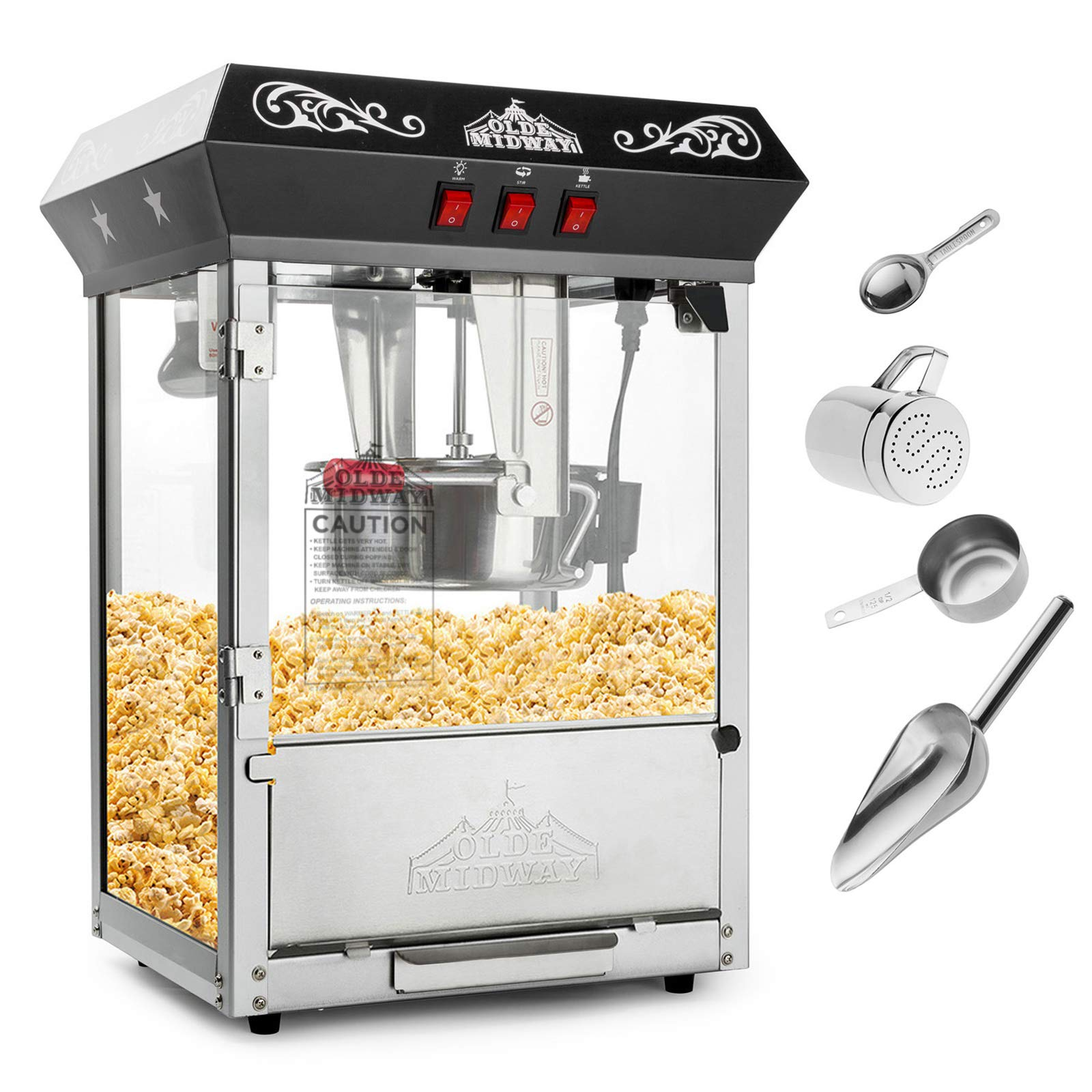 Olde Midway Bar Style Popcorn Machine Maker Popper with 10-Ounce Kettle - Black
