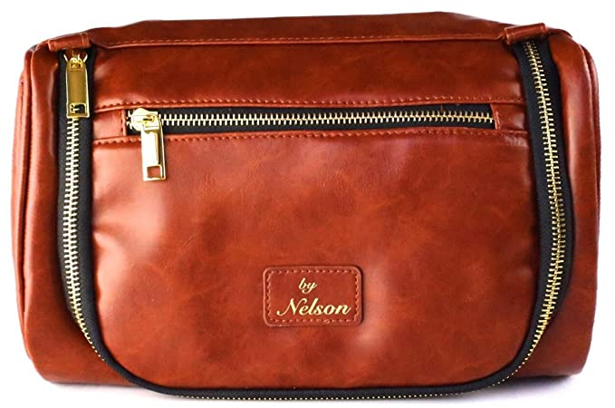 ad4f7b1ea579 Image Unavailable. Image not available for. Colour   1 USA Voted Best  Luxury Leather Toiletry Bag   Dopp Kit ...