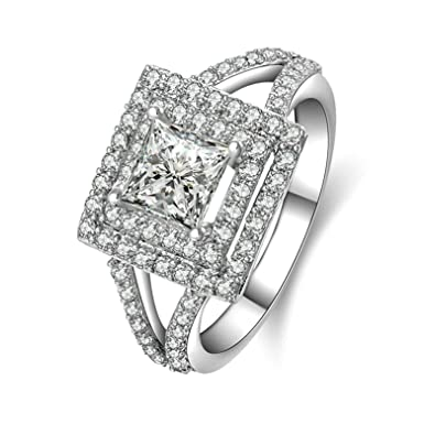 b5c2946aec401 Amazon.com: Aooaz Ring for Wedding Silver Material Ring Square ...