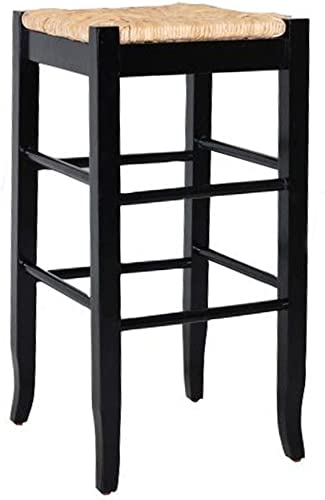 Boraam Square Rush Seat Bar Height Stool, 29-Inch, Black