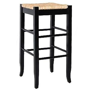 Boraam 94929 Square Rush Seat Bar Height Stool, 29-Inch, Black