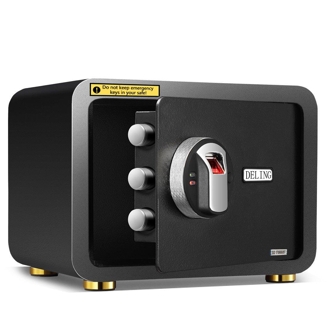 Ainfox Electronic Security Safe Box, 0.7 Cubic Feet Cabinets Fingerprint Biometric Wall Safe Lock Box Cash Strongbox with Emergency Lock