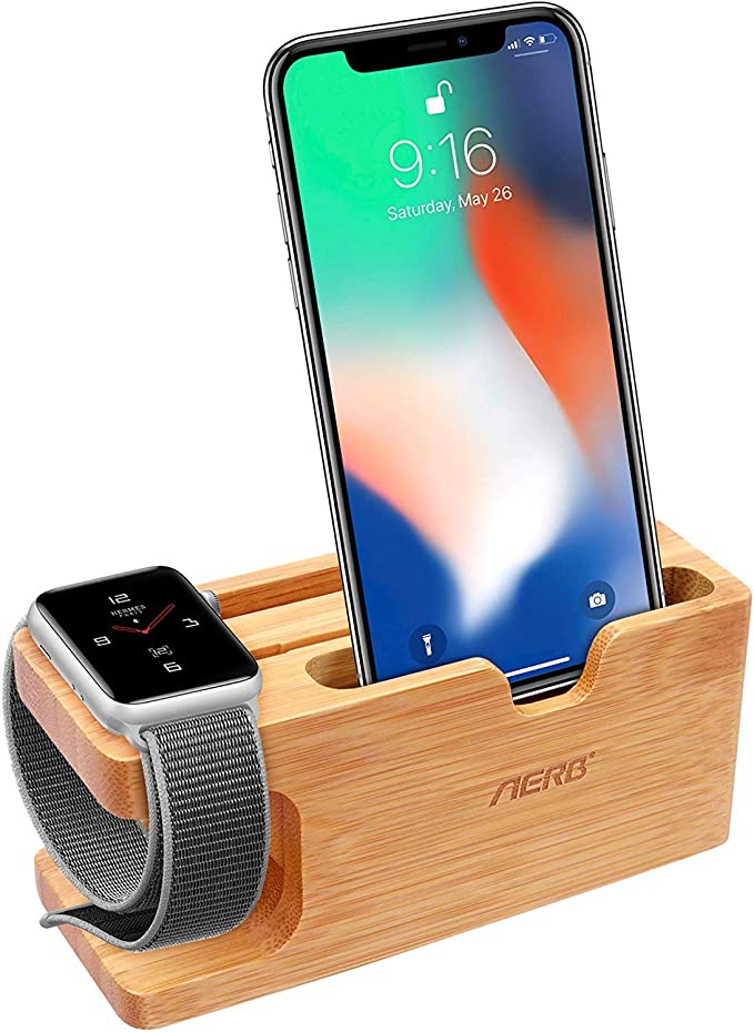 Aerb Apple Watch Stand, iWatch Bamboo Wood Charging Stand Bracket ...