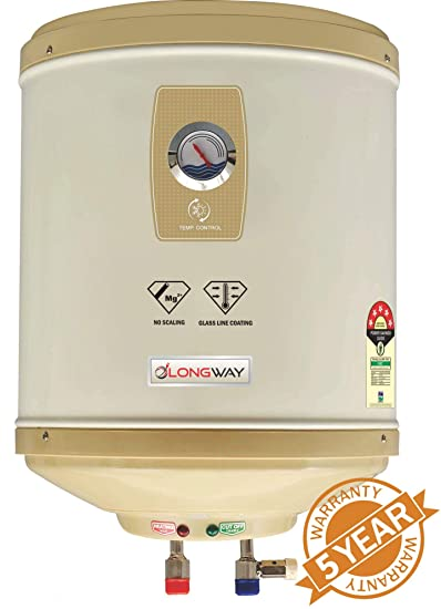 LONGWAY Superb 25LTR GLASSLINED 5 Star Storage Water Heater WT AVS Technology, Temperature Meter, ABS TOP Bottom, HD ISI Element & Capsule Type Glass Lined Tank 60 Month Warranty (Ivory)