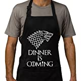 Famgem Grill Aprons Dinner is Coming Professional for BBQ, Bake, Cooking- Inspired Game of Kitchen Novetly GOT Chef Gift Handcraft 100% Cotton, 3 Pockets, Adjustable Neck Strap, Black