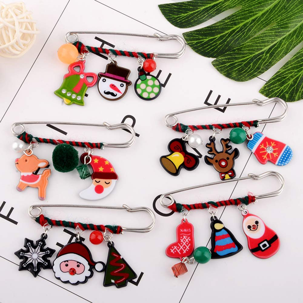 5pcsset CHQIFE Christmas Brooch Pin Set Christmas Jewelry Gift