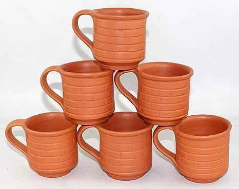 Earthen Clay Tea Cups Coffee Mugs Indian Chai Kulhar For Tea Coffee Milk 6 PCs