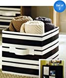 Better Homes and Gardens Collapsible Fabric Storage Cube, Set of 2 (Black Stripe)