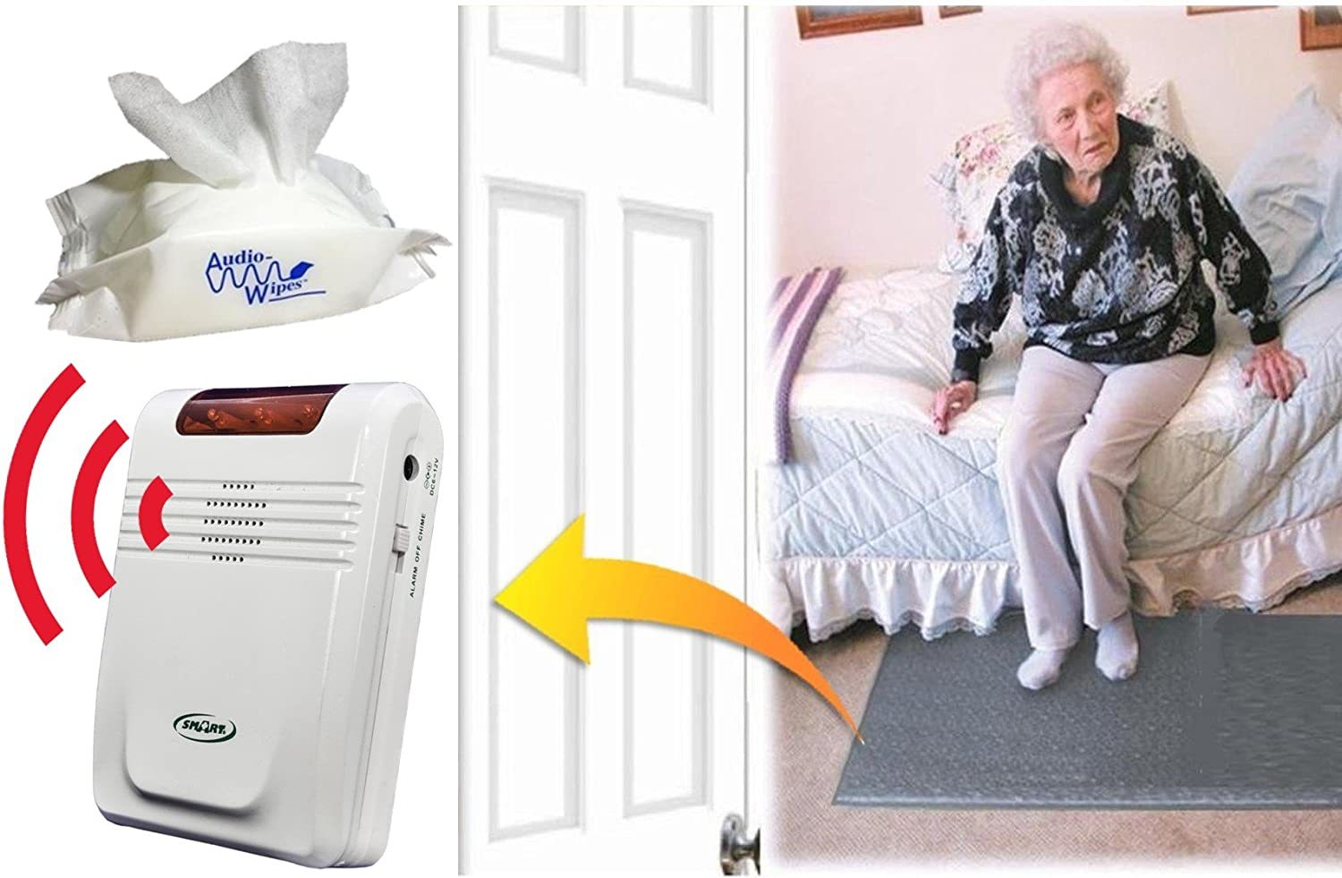 Smart Caregiver Economy Cordless Fall Monitor and Cordless Floor Mat Sensor Bundle with Pouch of 30 Cleaning Wipes