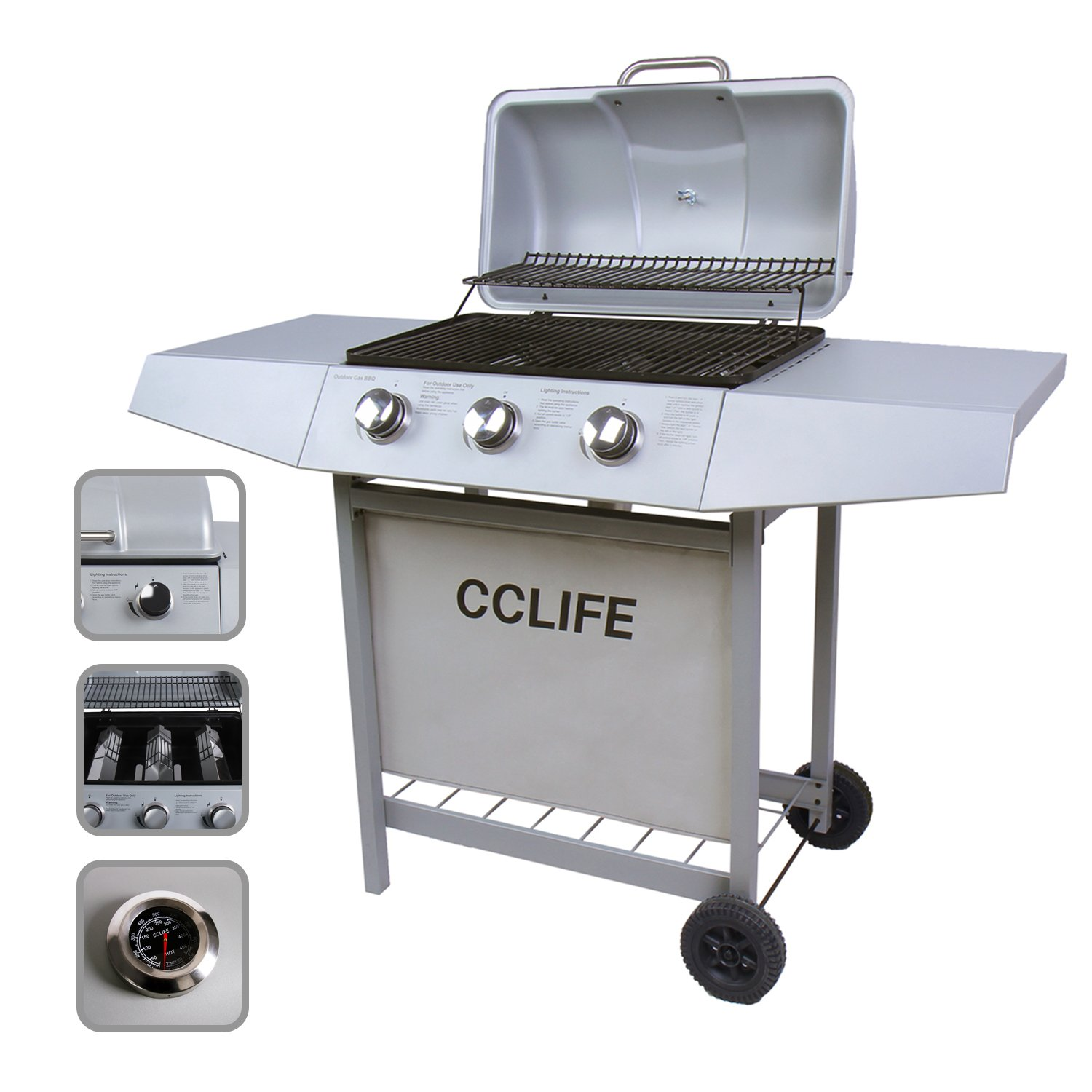 CCLIFE Barbecue grill gas barbecue with 3/4/5/6 main burners in silver or black, Colour:Silver, Size:3 Brenner