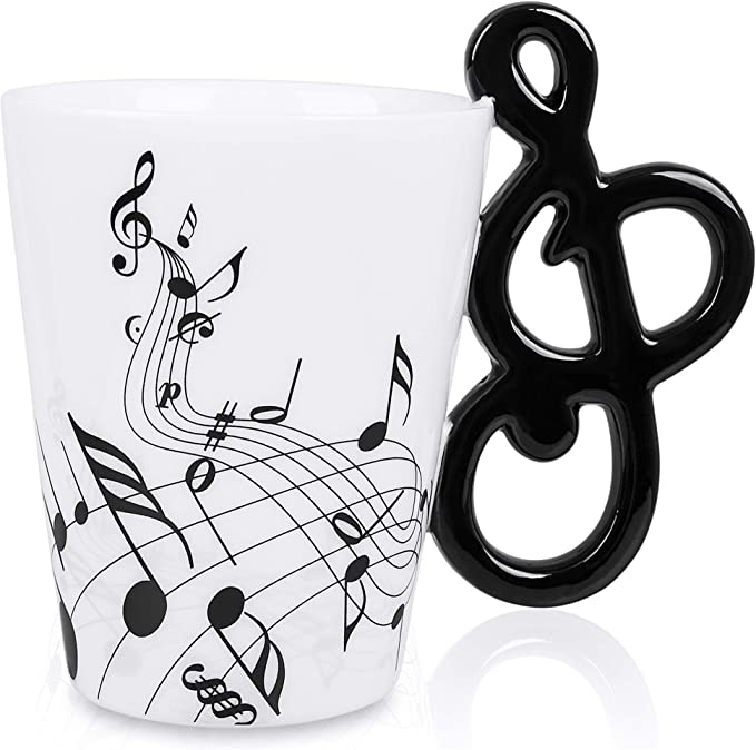 Lanhong 13 5 Oz Music Mug Musical Notes Design Coffee Cup Ceramic Music Musical Notes Cup Gift For Friend Kitchen Dining