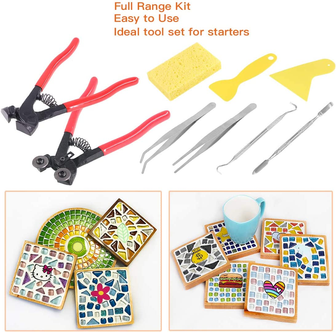 Rustark 9 Pcs Mosaic Tile Nippers Kit High Hardness 1 Piece Wheeled Glass Nippers and 1Piece Cutting Nippers Come with 7 Pcs Mosaic Tool for Handmade Artcraft and Home Decorations