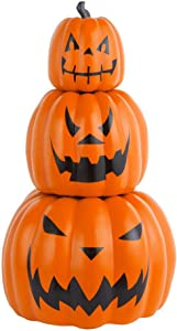 Home Accents Holiday Halloween Decor Jack-O-Lanterns 26.5 in. Stackable 3-Piece