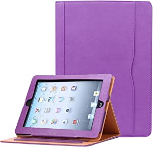 JYtrend iPad 2/iPad 3/iPad 4 Case, Multi-Angle Viewing Stand Leather Folio Smart Cover with Pocket, Auto Wake Up/Sleep for iPad 2/3/4 A1395 A1396 A1397 A1403 A1416 A1430 A1458 A1459 A1460 (Purple)