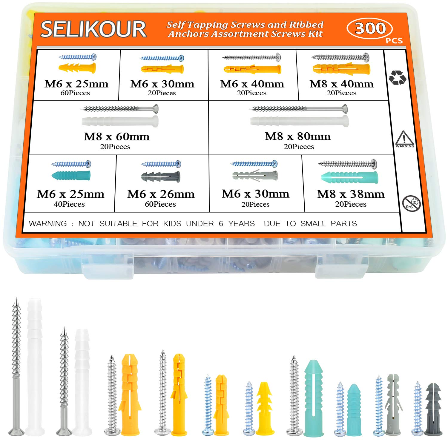 SELIKOUR 300Pcs Drywall Anchors and Screws, Plastic Self Drilling Drywall Ribbed Anchors Assortment Kit for Drywall, Hollow-Wall Hanging Wall Shelf or Blinds by SELIKOUR