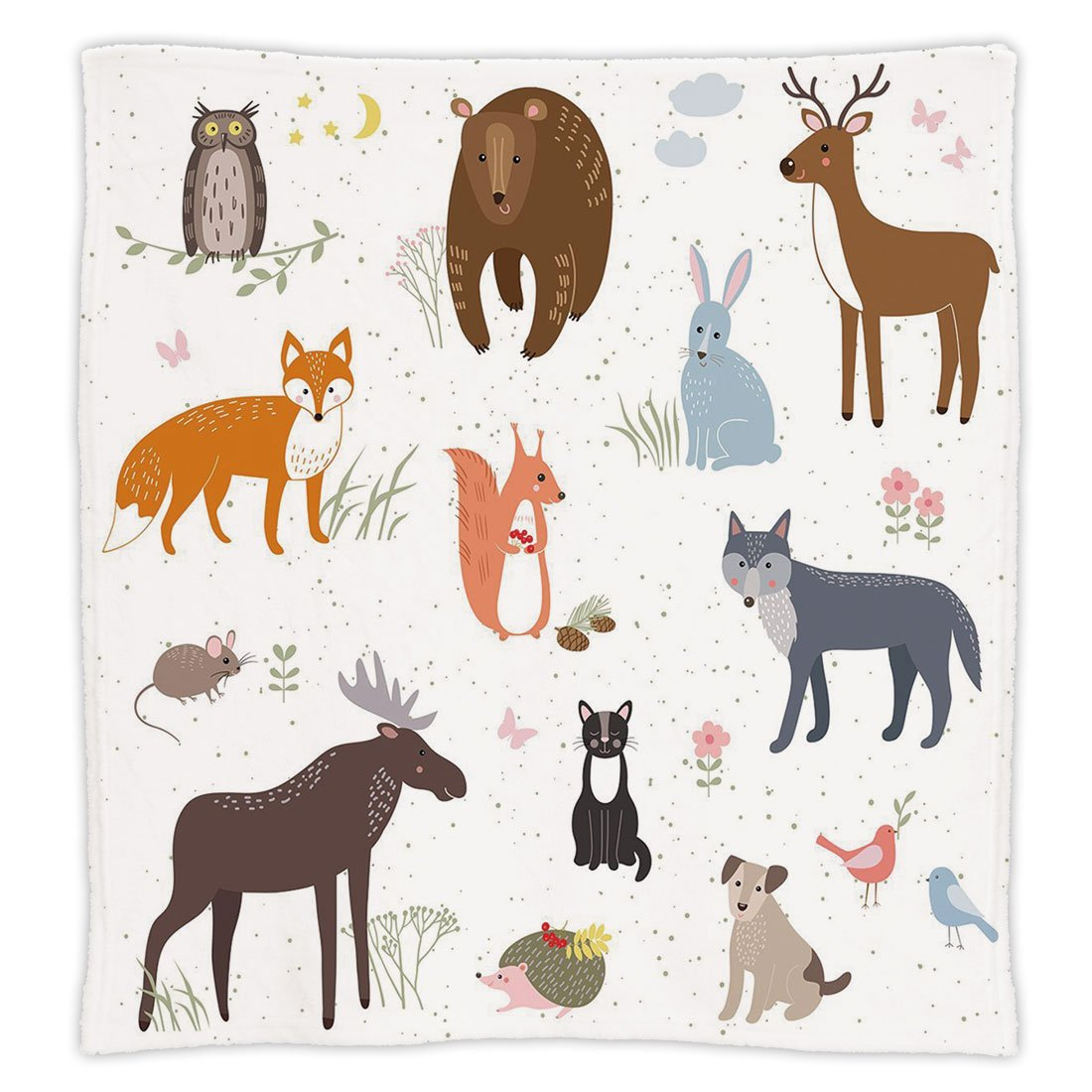 Super Soft Throw Blanket Custom Design Cozy Fleece Blanket,Cabin Decor,Cute Animals in Spring Meadow Childish Woodland Fauna Kids Baby Room Nursery Decorative,Multicolor,Perfect for Couch Sofa or Bed
