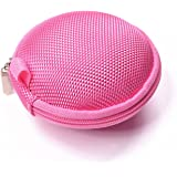 Cosmos Pink EVA ear/headphone/earphone/earbuds Case/bag - clamshell/MESH Style with Zipper Enclosure, Inner Pocket, and durable exterior also for storing iPod Shuffle 2nd 4th gerneration, iPod Nano 6th generation + Cosmos cable tie