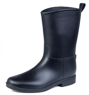 ec8424eabc0b AgeeMi Shoes Damen Slip On Halbschaft Gummistiefel Arbeitsstiefel Boots,EuY06  Schwarz 36
