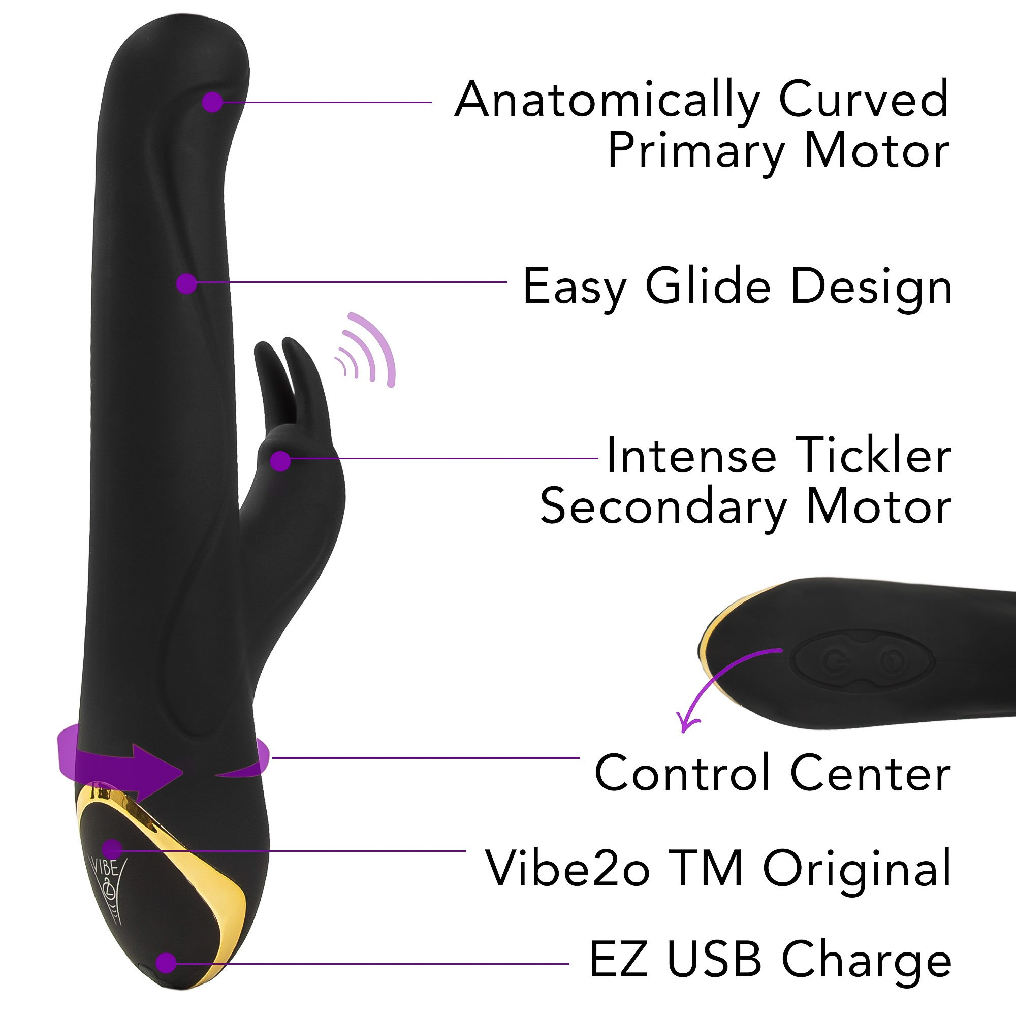 Diabella Dual Motor G Spot & Clitoris Vibrator w/ Anal Plug Adult Toy Play Set. 10 Pulsating Modes, Waterproof, Rechargeable, Medical Grade Silicone, Contoured, Exclusive 2017 Vibe2o (Large 5\