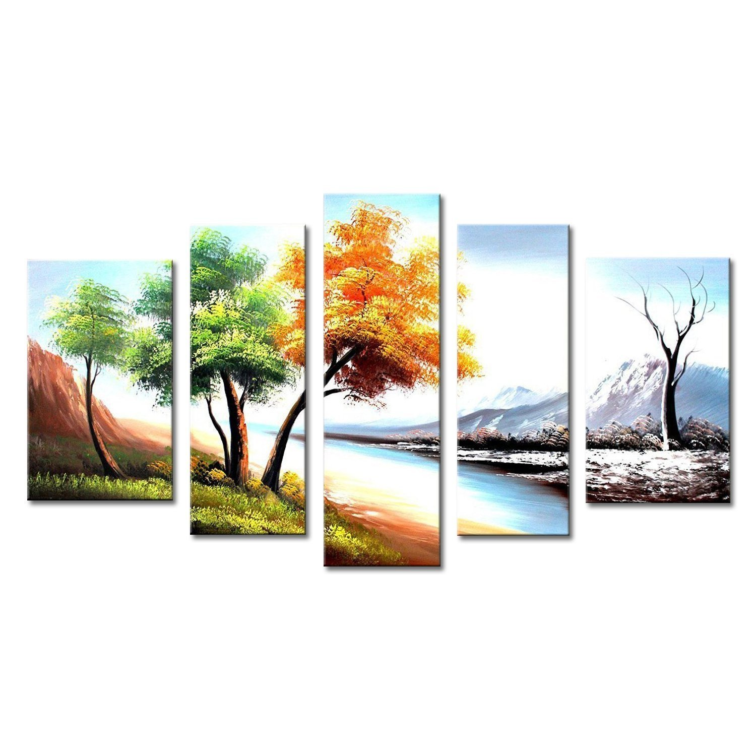 FLY SPRAY 5-Piece 100% Hand Painted Oil Paintings Four Seasons Landscape  Panel Stretched Framed Tree Snow River Mountain Modern Abstract Canvas  Living Room ... - FLY SPRAY 5-Piece 100% Hand Painted Oil Paintings Four Seasons